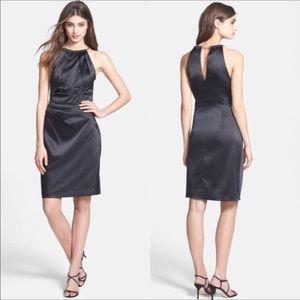 Nordstrom Eliza J  Choker Neck Black Satin Dress 4